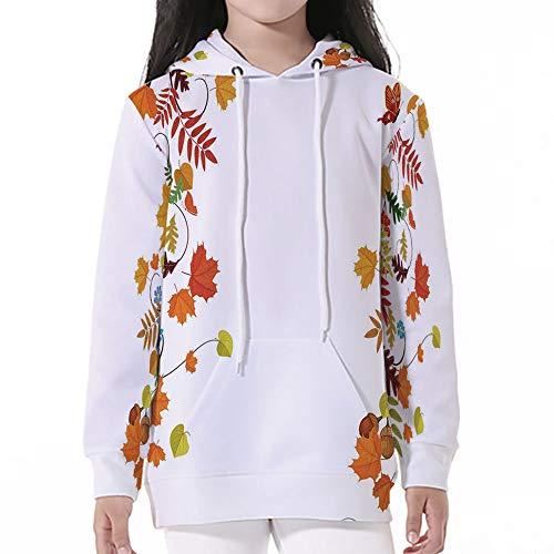 iPrint Sleeve Hooded Sweatshirts,Harvest,Colorful Seasonal Maple Aspen Leaves Frame ()