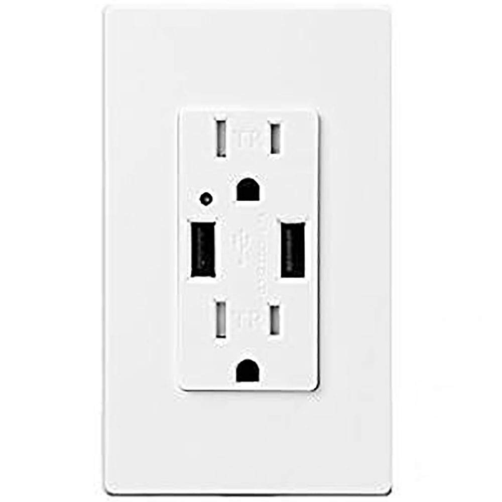 TOPELE High Speed USB Charger Outlet, 4.2a USB Wall Charger with 15A Tamper-Resistant Duplex Receptacle, Child Proof Safety, Wall Plates Included, UL Listed, White by TOPELE (Image #1)