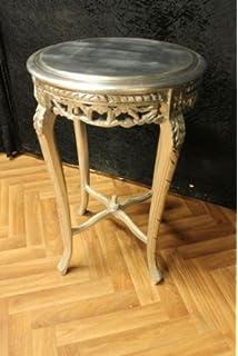 Beistelltisch antik silber  Beistelltisch Tisch silber rund Antik Stil barock AlTa0332SiHI ...