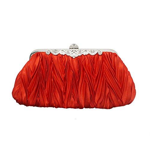 Mariée Clutches Soirée De Sac Boulette Mariage Froissé Sac Pochette De Type Main D'honneur Demoiselle Dames Red à qzRFz