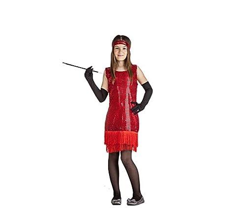 Disfraz de Charlestón Rojo con flecos para niña: Amazon.es ...