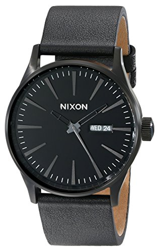 Nixon Sentry Leather Watch - Men's All Black, One Size