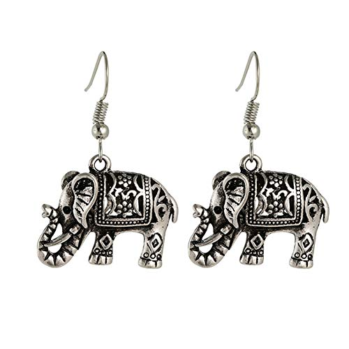 BulingVV 925 Sterling Silver Plated Vintage Bohemia Carved Patterns Elephant Charm Women Girls Dangle Earrings ()