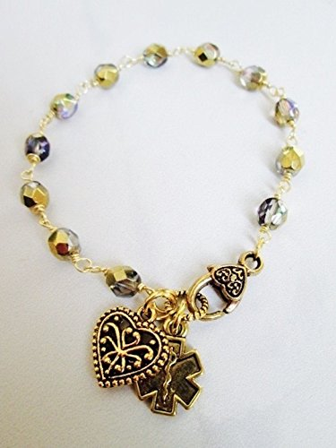 - Diabetes Medical Alert Bracelet with Czech glass beads and Gold charms Rosary style bracelet