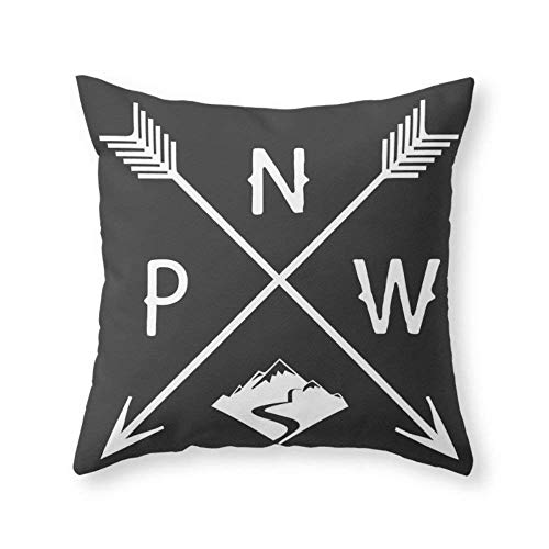 AntonioKe75 Seattle Washington Funda de cojin con Flecha para Oficina, sofa, Cama, Silla de 22 x 22 Pulgadas, un