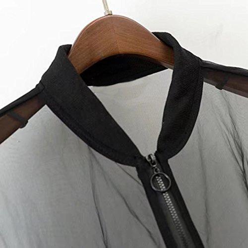 Chemisier Engrener Chemise Maille Paragraphe Tunique Shirt Tee Femmes URSING Zipper Tops Shirts T Perspective Col Longue Chic en V Haut Noir Blouse Sexy Casual Mode Court Manche TgWW4fIa