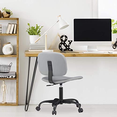 Relaxdays skrivbordsstol med hjul, höjdjusterbar, bekväm kontorsstol, 120 kg, H x D: 88 x 60 cm, grå, PU, metall, plast, paket med 1