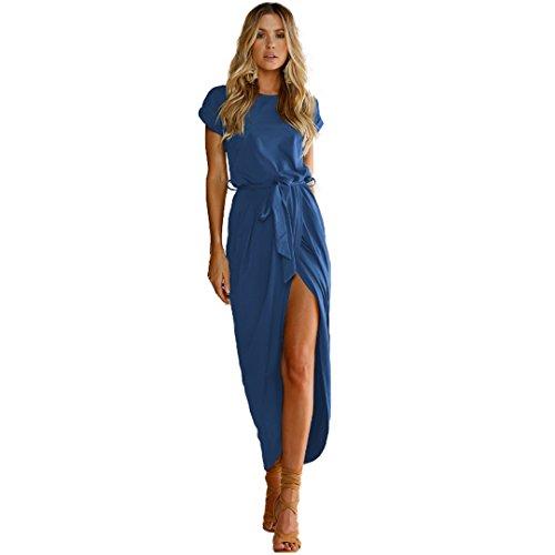 Largo Vintage Vestido Sundress Casual Playa Pocket Redondo Largo de Verano Mangas Cuello Azul Estampado Vestido gxnqEawCEZ
