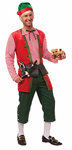 [Forum Novelties Men's Toy Maker Elf Costume, Green/Red, One Size] (Green And Red Elf Costumes)