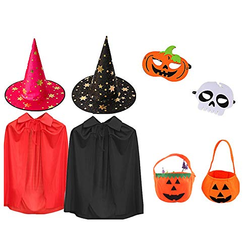 2018 Halloween Kids Costumes, Witch Hats, Cloaks, Pumpkin Candy Bags, Mask Kids ()