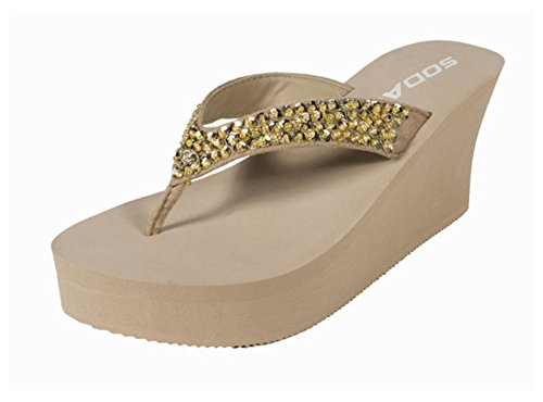 Flip Flop Sandal w/Bedazzled Jewels in Classy Colors (10, Oatmeal) (Eva Foam Flip Flops)