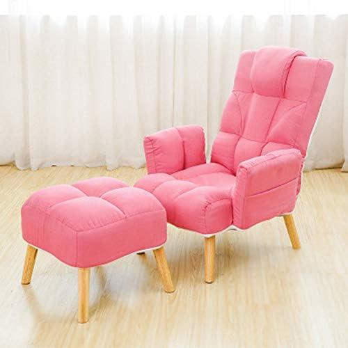 ソファー 、 リビングルーム、ベッドルーム、クラブ、オフィス3色に対してオスマン付きのモダンなリクライニングチェアアームチェア 子供や大人に最適 (Color : Khaki, Size : Free size)
