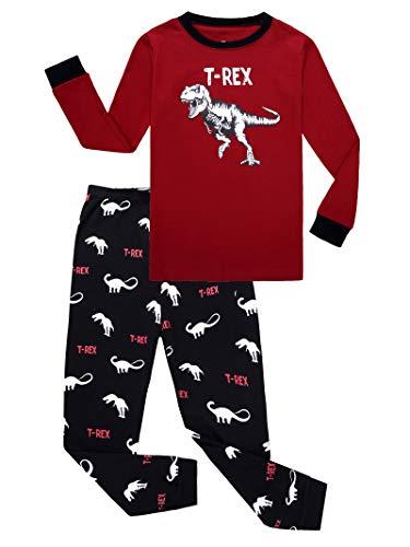 Dinosaur Little Boys Long Sleeve Pajamas 100% Cotton Pjs Size 5 -