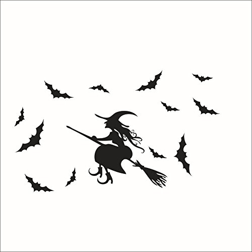 [DIY Halloween Wall Decor Witch and Bats Tomb Wall Decals Window Stickers Halloween Decorations for Kids Rooms Nursery Halloween] (Diy Halloween Decor)