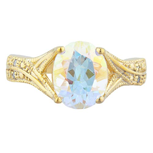3 Ct Natural Mercury Mist Mystic Topaz & Diamond Oval Design Ring 14Kt Yellow Gold Rose Gold Silver