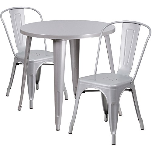 (Flash Furniture 30'' Round Silver Metal Indoor-Outdoor Table Set with 2 Cafe Chairs)