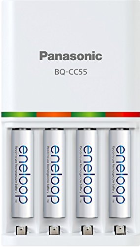 "Panasonic  ""Advanced"" eneloop Individual Battery 3 Hour Quick Charger with 4 eneloop Rechargeable Batteries, White"