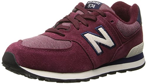 New Balance KL574 Lace-Up Pre Pennant Running Shoe (Little Kid),Maroon/White,13.5 M US Little Kid