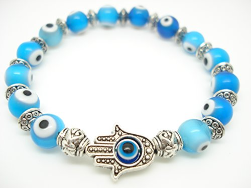 - 8mm Ocean Blue Turkey Evil Eye Protection Bracelet Hamsa Hand Sold 1pc