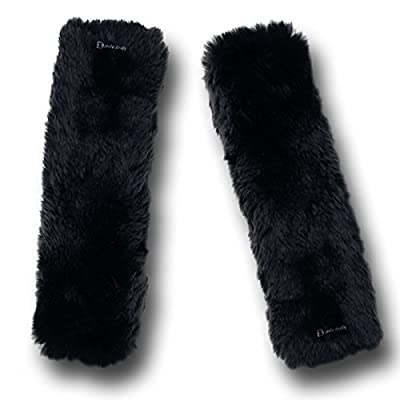 Zento Deals Soft Faux Sheepskin Seat Belt Shoulder Pad- Two Packs- A Must Have for All Car Owners for a More Comfortable Driving (Black): Automotive