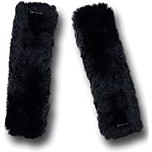 Zento Deals Soft Faux Sheepskin Seat Belt Black Shoulder Pad- Two Packs- A Must Have for All Car Owners for a More Comfortable Driving