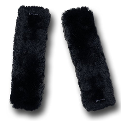 Zento Deals Soft Faux Sheepskin Seat Belt Shoulder Pad- Two Packs- A Must Have for All Car Owners for a More Comfortable Driving (Black)
