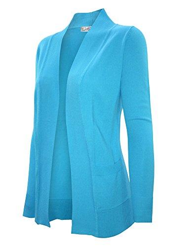 CIELO Women's Solid Basic Open Front Pockets Knit Sweater Cardigan Aqua XL (Aqua Cardigan)