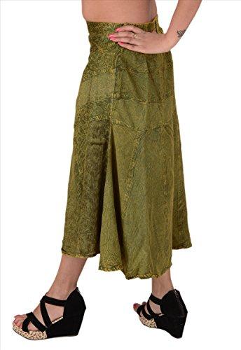 Faldas y bufandas rayón bordado de gitanos/bohemio de la mujer falda larga Verde