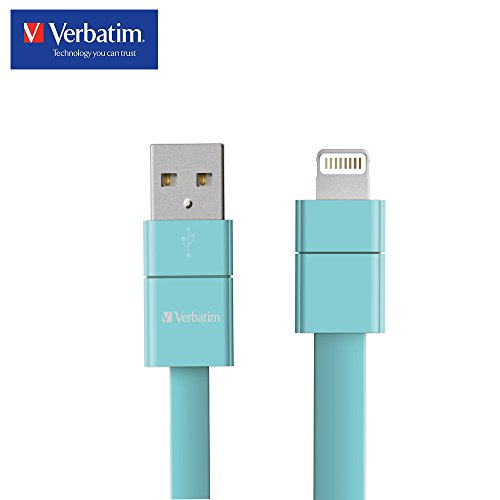 [Apple MFi Certified] Verbatim USB Lightning iPhone Cable for iPhone X, 8, 8 Plus, 7, 7Plus, iPod and iPad, Fast Charging, 2 Year Limited Warranty, 8 Inch/20 CM ­ Tiffany - 5s Tiffany
