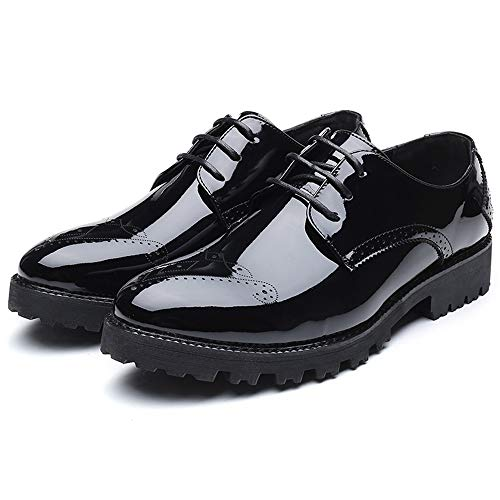 Bangxiu color Personality In Oxford Da Verniciata Trend Uomo Colour Dimensione Nero Nero 37 Fashion top Low Comode Pelle Brogue Lavoro Scarpe Eu Formale TrTYA
