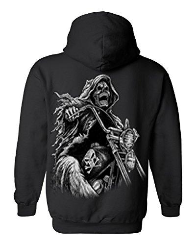 Men's/Unisex Zip-Up Hoodie OVERSIZED Biker Grim Reaper Skeleton BLACK (Large)