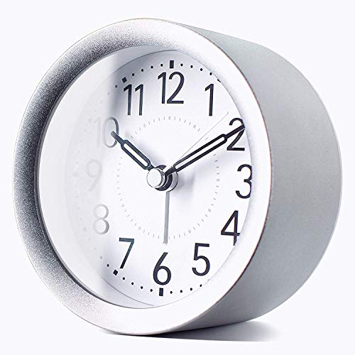 TXL 4 inch Round Silent Sweep Analog Alarm Clock Non Ticking, Gentle Wake, Beep Sounds, Increasing Volume, Battery Operated Snooze and Light Functions, Easy Set Small Desk Clock, Sparkly Silver ()