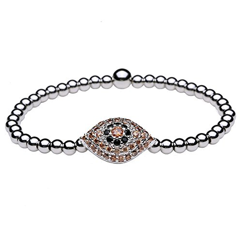 Women Bracelet Cubic Zirconia / Titanium Steel Beads (4mm) Evil Eye Stretch 6-6.5 (a Silver)