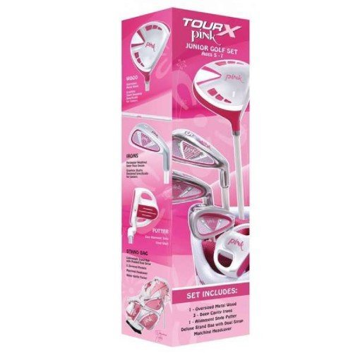 Merchants of Golf Tour X Pink 5-Piece Junior Golf Complete Set with Stand Bag, Left Hand, 5-7 Age, Graphite, Regular by Merchants of Golf