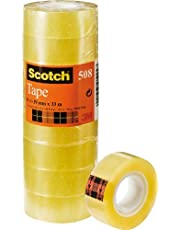 Scotch Ruban Adhésif 508, Transparent, 19 mm X 33 m, Lot de 8
