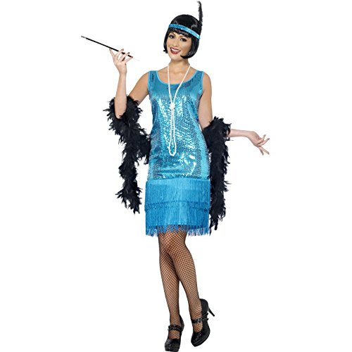 Flapper Dress Costume Uk (Smiffy's Women's Fun time Flapper Costume, Dress, Headpiece and Necklace, 20's Razzle Dazzle, Serious Fun, Size 10-12, 22418)