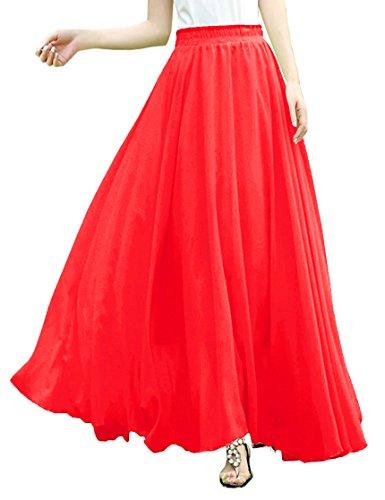 V28Women Full/Ankle Length Elastic Pleated Retro Maxi Chiffon Long Skirt (L, Red) (Circle Full Red)