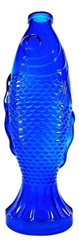 (Backwoods Lighting LLC Fish Bottle,Vintage Style Collectable Blue Colored Detailed Glass Fish Bottle )