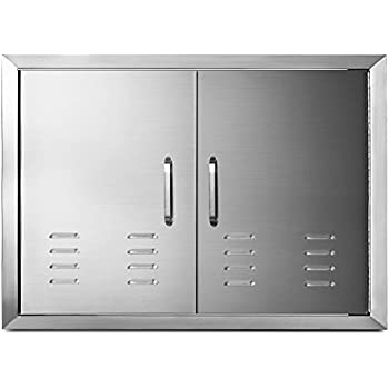 Happybuy 30 X 21 Inches Double Door Flush Mount With Vents Bbq Access Door Stainless Steel For Bbq Island Outdoor Kitchen