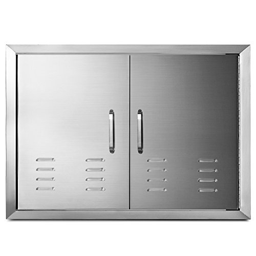 "- Happybuy 30""x 21"" Double Door Flush Mount with Vents BBQ Access Door Stainless steel for BBQ Island Outdoor Kitchen(30""x 21"" Double Door Flush Mount)"