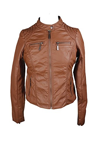Jou Jou Juniors Brown Zipper-Front Faux-Leather Jacket L