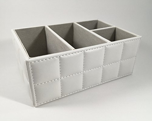 TickinTidy 4-Slot Wooden and Leather Table Storage Box Mo...