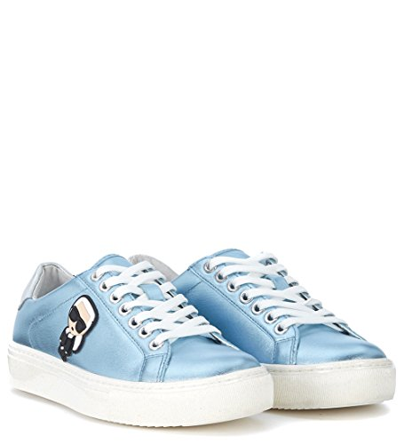 Karl Lagerfeld Womens Metallic Light Blue Leather Sneaker Light Blue mkG0LAwR3g