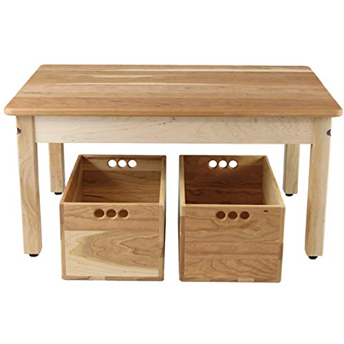 Camden Rose Cherry & Maple Child's Play Table with Two Cherry Storage Crates For Sale
