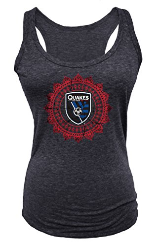 MLS San Jose Earthquakes Women's Tri Blend Racer Back Tank Top, Black, X-Large (Tank Team Womens Racer)