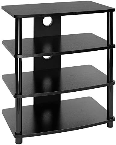 Mount-It Media Stand Entertainment Center for TV, Audio Video Components, Stereo Equipment, Gaming Consoles, Streaming Devices, 4 Shelves, Black