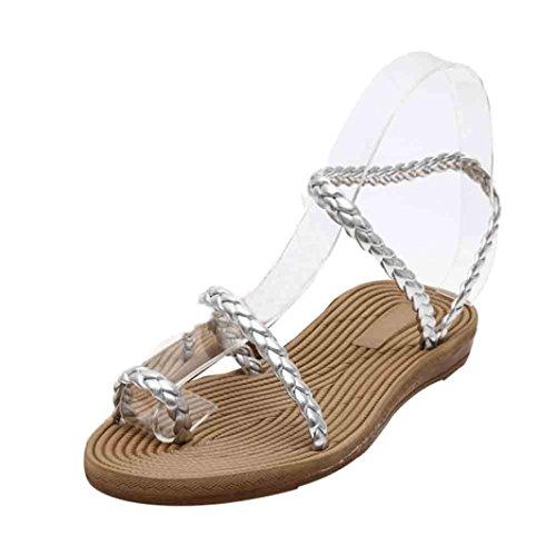Ouneed® Damen Sandalen ,Sommer Weave Sandalen Home Sandalen Strand Flat Schuhe Silber
