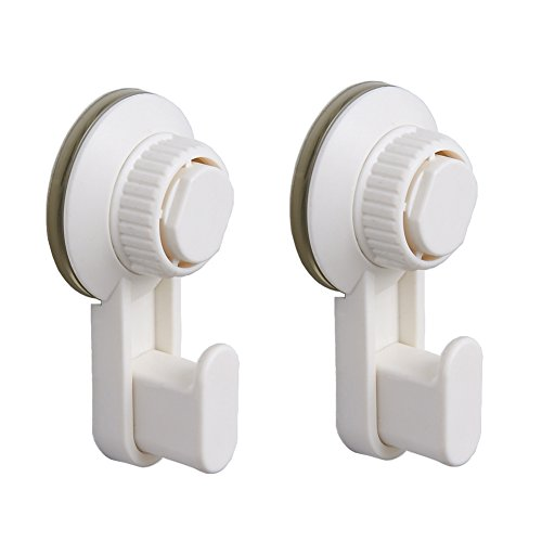 Powerful Bathroom Hook with Suction Cup Holder Removable Shower Rack Home Kitchen Organizer for Towel, Bath robe, Coat, Loofah White Holder and Hanger by BLISSPORTE (2 Pack) by BLISSPORTE