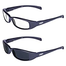 Global Vision 2 Pair New Attitude Black Sport Motorcycle Riding Sunglasses 1 with Clear Lens and 1 with Super Dark Lens