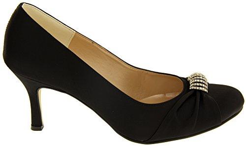 Footwear Studio Sabatine Womens Satin Diamante Buckle Wedding Shoes Black WNtClgf3BF